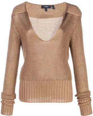 Theory fitted ribbed knit top