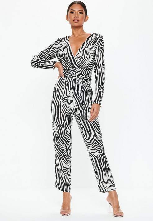 Black Zebra Print Wrap Over Jumpsuit, Black
