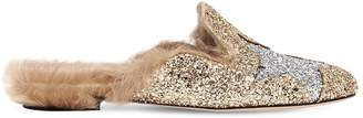 Chiara Ferragni 20mm Glittered Mules W/ Fur