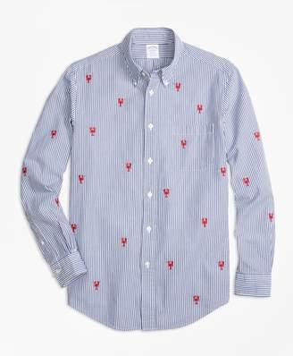 Brooks Brothers Regent Fit Seersucker with Lobsters Sport Shirt