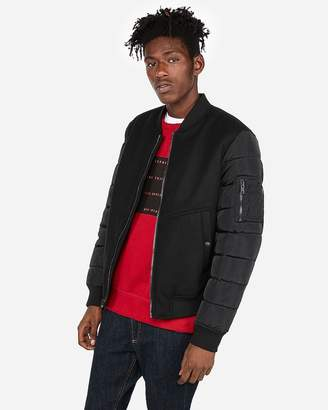 Express Wool-Blend Water-Resistant Bomber Jacket