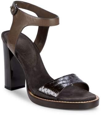 Brunello Cucinelli Leather Block Heel Ankle-Strap Sandals