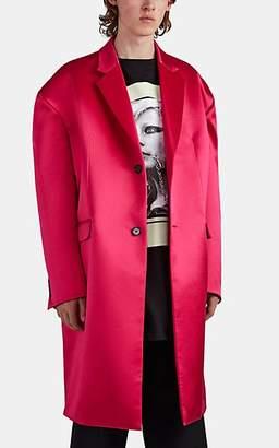 Raf Simons Men's T-Shirt-Detailed Wool-Silk Topcoat - Pink