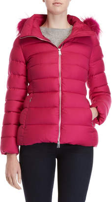 ADD Real Fur Trim Hooded Quilted Jacket