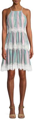 Catherine Malandrino Striped Halter-Neck Lace-Trimmed Dress