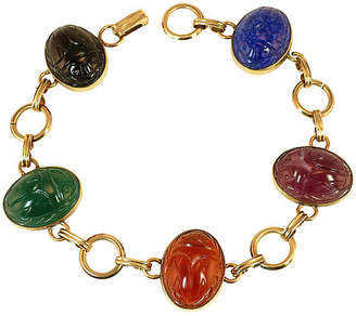 One Kings Lane Vintage 1930s Art Glass Scarab Bracelet - Neil Zevnik