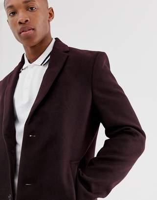 New Look overcoat in burgundy