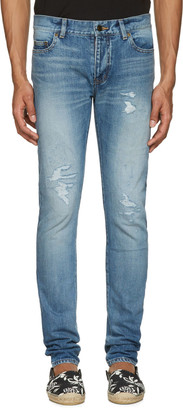 Saint Laurent Blue Low Waisted Skinny Jeans $750 thestylecure.com