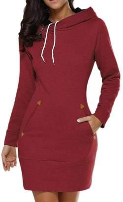 Lettre d'amour Women Long Sleeve Cotton Slim Fit Midi Hoodie Dress With Pocket Tunic Sweatshirt XS