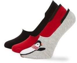 Hue Three-Pack Penguin Sneaker Liner Socks