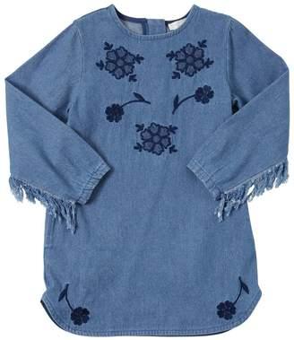 Stella McCartney Floral Embroidered Stretch Denim Dress