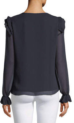 T Tahari Lue Pleated-Shoulder Long-Sleeve Blouse