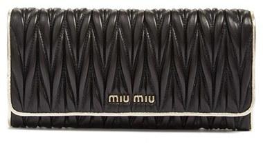 Miu MiuWomen's Miu Miu Matelasse Leather Continental Wallet - Black