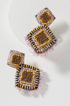 Anthropologie Fringed Diamond Drop Earrings