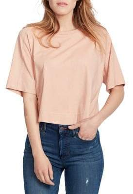Ella Moss Elbow-Sleeve Cotton Cropped Top