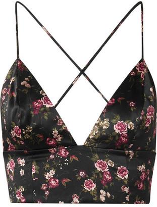 CAMI NYC The Mila Floral-print Silk-charmeuse Bra Top - Black
