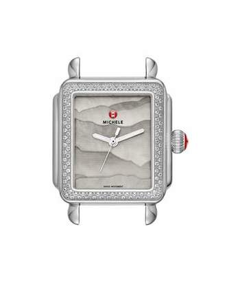 Michele 18mm Deco Diamond Watch Head with Gray Dial