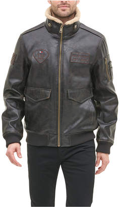 Tommy Hilfiger Men Top Gun Faux Leather Aviator Bomber Jacket