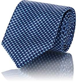 Barneys New York Men's Chain-Link-Print Silk Satin Necktie - Navy