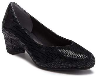 Rockport Charis Reptile Embossed Leather Block Heel Pump - Wide Width Available