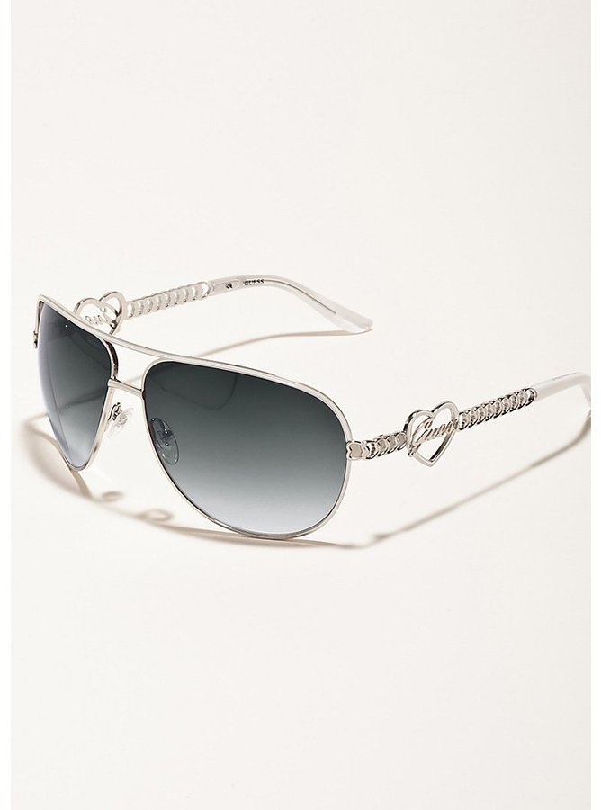 GUESS Monica Heart and Script Logo Aviator Sunglasses
