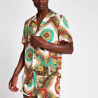 River Island Mens Jaded London White baroque print shirt