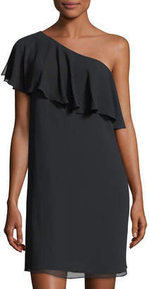 Cynthia Steffe Cece By Crinkle Chiffon One-Shoulder Minidress