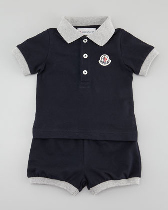Moncler Short Sleeve Polo & Shorts Set, Navy