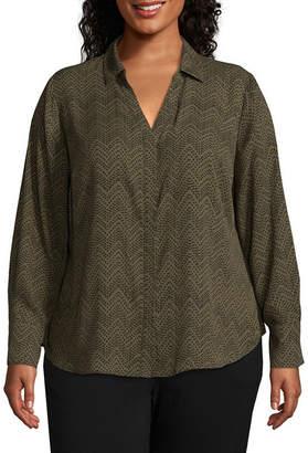 WORTHINGTON Worthington Long Sleeve Printed YNeck Button Front Blouse -Plus