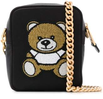Moschino logo embroidered crossbody bag