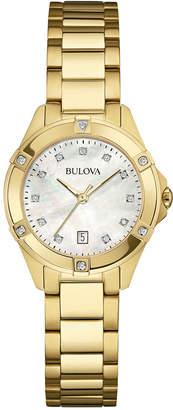Bulova Women's Diamond Accent Gold-Tone Stainless Steel Bracelet Watch 27mm 97R100 $450 thestylecure.com
