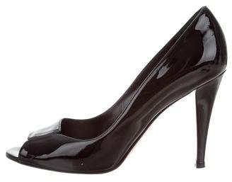 Gianvito Rossi Patent Leather Peep-Toe Pumps