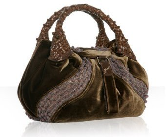 Fendi tobacco velvet beaded 'Spy' small tote