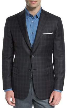 Brioni Plaid Wool Two-Button Sport Coat, Brown