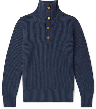 Dunhill Leather-Trimmed Ribbed Merino Wool Sweater