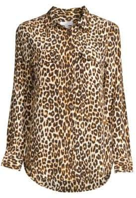 Equipment Slim Signature Silk Leopard-Print Shirt