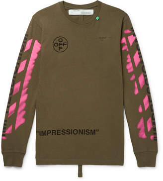 Off-White Off White Printed Cotton-Jersey T-Shirt - Army green