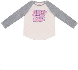 Juicy Couture Varsity Butterflies Velour Sleeve Tee for Girls