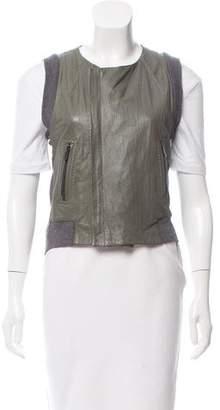 BCBGMAXAZRIA Leather-Panel Knit Vest