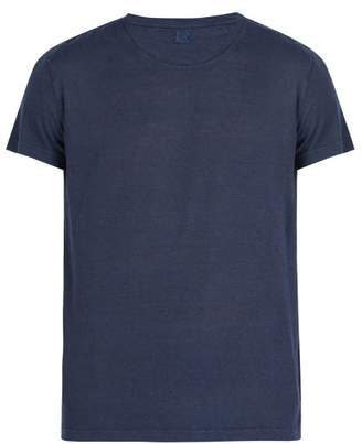 120% Lino Crew Neck Linen Jersey T Shirt - Mens - Dark Navy