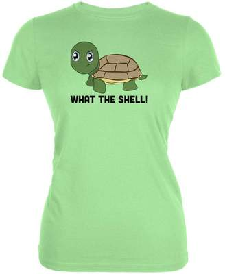 Old Glory Turtle What The Shell Funny Pun Cute Juniors Soft T Shirt MD