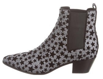 Saint Laurent Saint Laurent Rock Glitter Star Ankle Boots