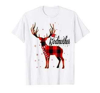 Godmother Reindeer Plaid Pajama Shirt Matching Family
