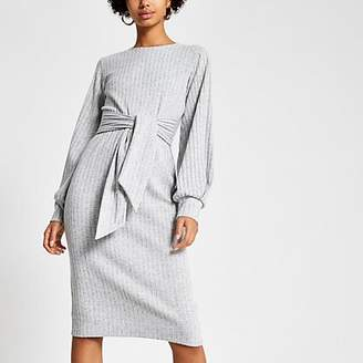 River Island Grey ribbed tie front jersey dress