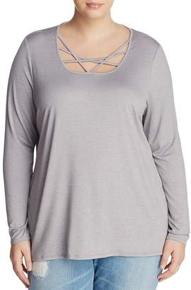 Andrew Marc Performance Plus Marled Strappy-Neck Top