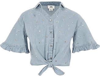 River Island Girls denim sequin tie front shirt