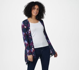 Logo By Lori Goldstein LOGO by Lori Goldstein Rayon 230 Print Button-Front Cardigan