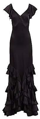 Zac Posen Women's V-Neck Ruffle Trim Satin Gown