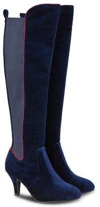 f213f99fcf8 at Debenhams · Joe Browns Dark Blue  Vivacious Velvet  High Stiletto Heel Knee  High Boots