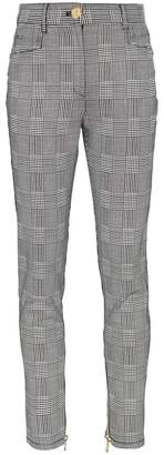 Balmain Checked high waisted cotton-blend trousers